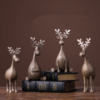 Resin Statue Home Decoration Accessories Modern Deer Desk Decoration Christmas Decorations Figurines