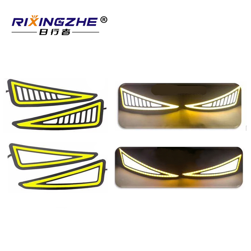 Car Styling drl COB LED Lamp Flexible DRL Universal Daytime Running Light Car Driving lamp turn signal drl cob waterproof 12v universal 6 8 9 12 14 16 led super white waterproof flexible drl daytime running light driving fog warning lamp dc 12v