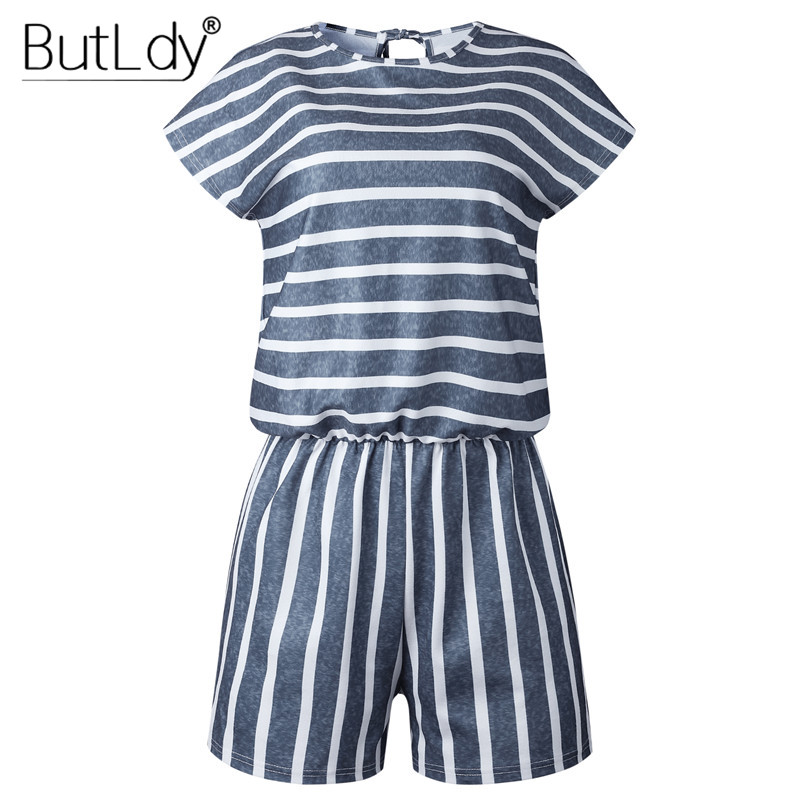 Striped Loose Playsuits Bodysuit Rompers Women Summer 2019 Casual Beach Jumpsuit Shorts Short Sleeve Elegant Overalls For Women
