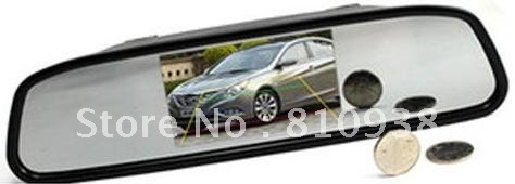 Promotion New 4.3 inch 2CH vedio mirror monitor + car Rear View Backup Waterproof camera cam