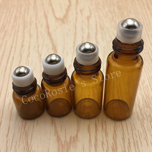 50pcs/lot 1ml,2ml 3ml empty roll on bottle amber essential oil glass vial roller brown