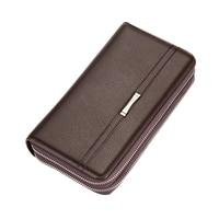 Luxury Clutch Handy Bag Designer Card Holder Slots Carteira Masculina Business Men Long Double Zipper Leather
