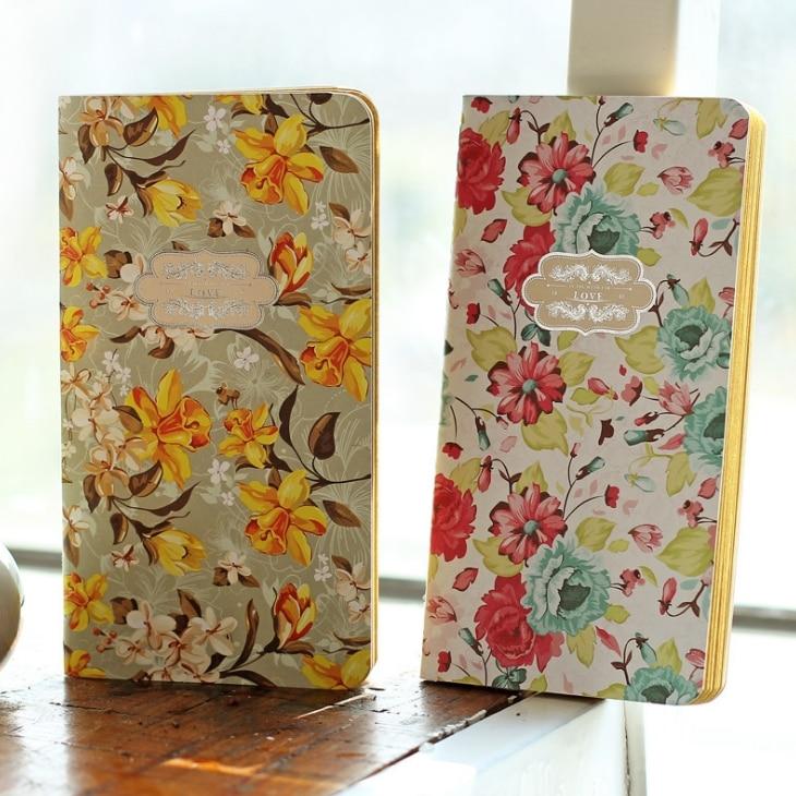 Flower Love Beautiful Vintage Journal Pocket Notebook Kraft Blank Freenote Diary Notepad