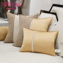 Avigers Luxury Modern Cushion Cover Linen Pillow Case Patchwork Gold White Black Solid Home Decorative Sofa Throw