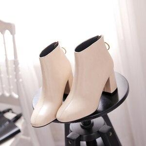 Image 5 - 2018 קוריאני גרסה של ניו נשים של מגפיים, את חזרה רוכסנים עם עבה עקבים קצר מגפיים קצר מגפי ואת גאות של מגפיים חשופים