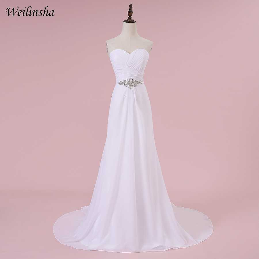 Weilinsha Romantic Sweetheart Wedding Dresses Chiffon A-line Pleats White/ Ivory Bridal Wedding Gowns Robe De Mariage In Stock