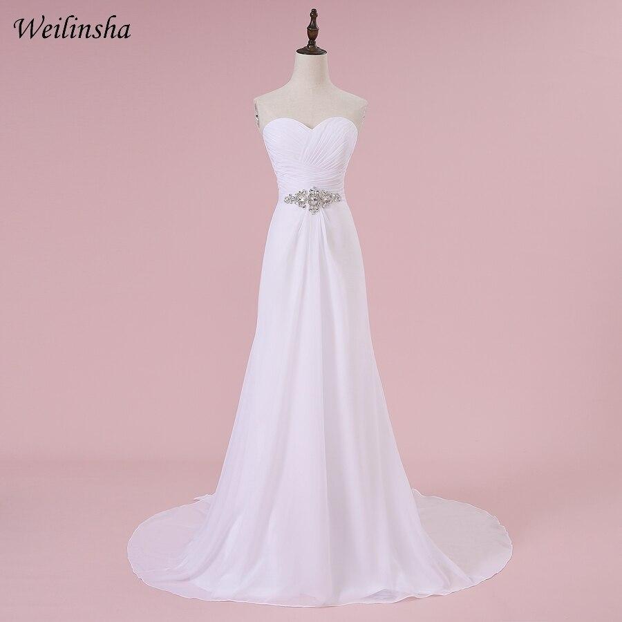 """""""Weilinsha"""" romantiškos vestuvinės suknelės """"Chiffon"""" A-linijos briaunos baltos / dramblio kaulo vestuvių vestuvių suknelės Robe De Mariage Yra sandėlyje"""