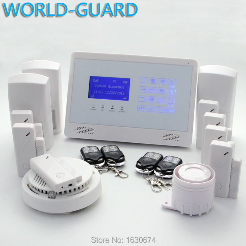 free shipping Intercom home security wireless GSM alarm system 2 year warranty 850/900/1800/1900MHZ with russian,Italian voice