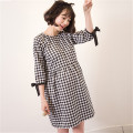 New Arrival Spring Summer Maternity women plaid dress o-neck cotton linen cute three-quarter Pregnant female dresses vestido