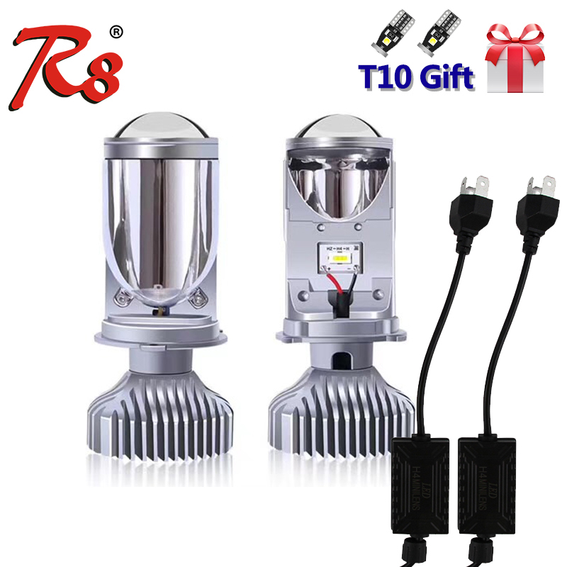 2Pcs R8 Car H4 HS1 9003 HB2 LED Headlight Bulbs Spot Light With Mini Projector Lens 12V 5500K Warm White Fanless Easy Install