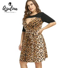 Plus Size 6XL 7XL Leopard Printed Keyhole Evening Party Dress