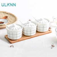 Japan Style Ceramic Storage Cans Jar Seasoning Pot Set with Bamboo Plate and Spoon Kitchen Garlic/Ginger Ventilated Storage Tank
