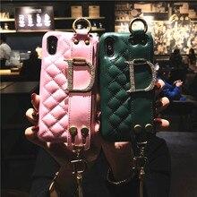 Модные Браслет для ремня Телефон чехол для iPhone 6 6s 7 8 плюс X XR XS Max роскошные кожаные задняя крышка Фонд Coque чехол