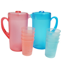 Large Volume 2400ml Plastic Water Bottle Tea Kettle Pitcher Jug 4pcs Water Cup Mug Whey Protein