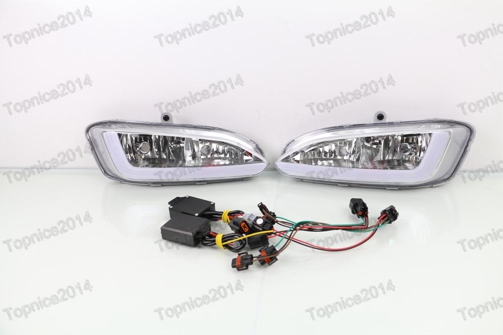1 пара светодиодный DRL Дневной ходовой светильник для автомобиля противотуманные фары с поворотным светильник s для hyundai Santa Fe/IX45 2013 2015