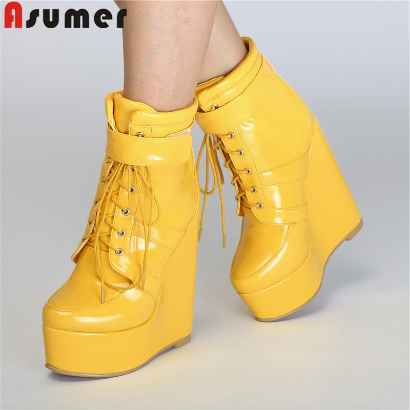 ASUMER 2019 autumn winter new ankle boots for women round toe lace up platform wedges shoes patent leather boots plus size 34-47ASUMER 2019 autumn winter new ankle boots for women round toe lace up platform wedges shoes patent leather boots plus size 34-47