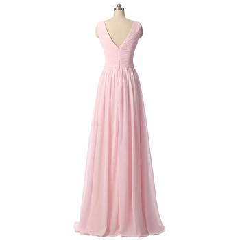 QNZL95F#Custom Colors Long Evening Dresses Pink Green Chiffon Wedding Party Dress Party Gown Wholesale Bride Getting Married 2