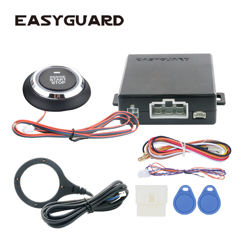 Top EASYGUARD RFID Car Alarm System Push Start Stop Button