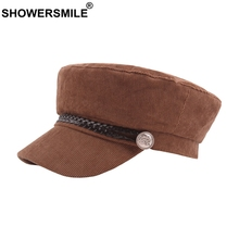 SHOWERSMILE Coffee Hat Military Cap Women Corduroy Solid Top Flat Caps Army Female Braiding Autumn British Vintage Sailor Hats