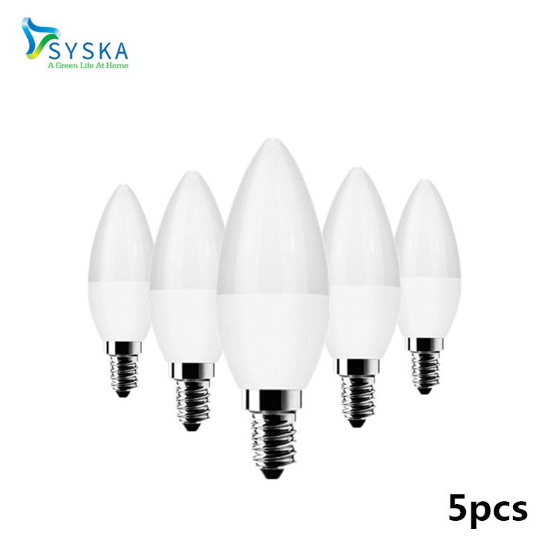 5pcs Candle Bulb Chandelier E14 3W 5W 7W 110V 220V Led Flame Lamp Indoor Light LED Warm Cold White For Home Decoration 201772 ...