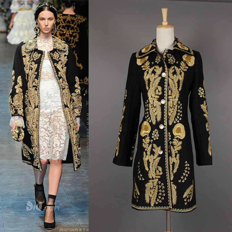 High Quality Women Sexy Runway Coats 2017 Black Single Breasted Embroidery Women Jackets