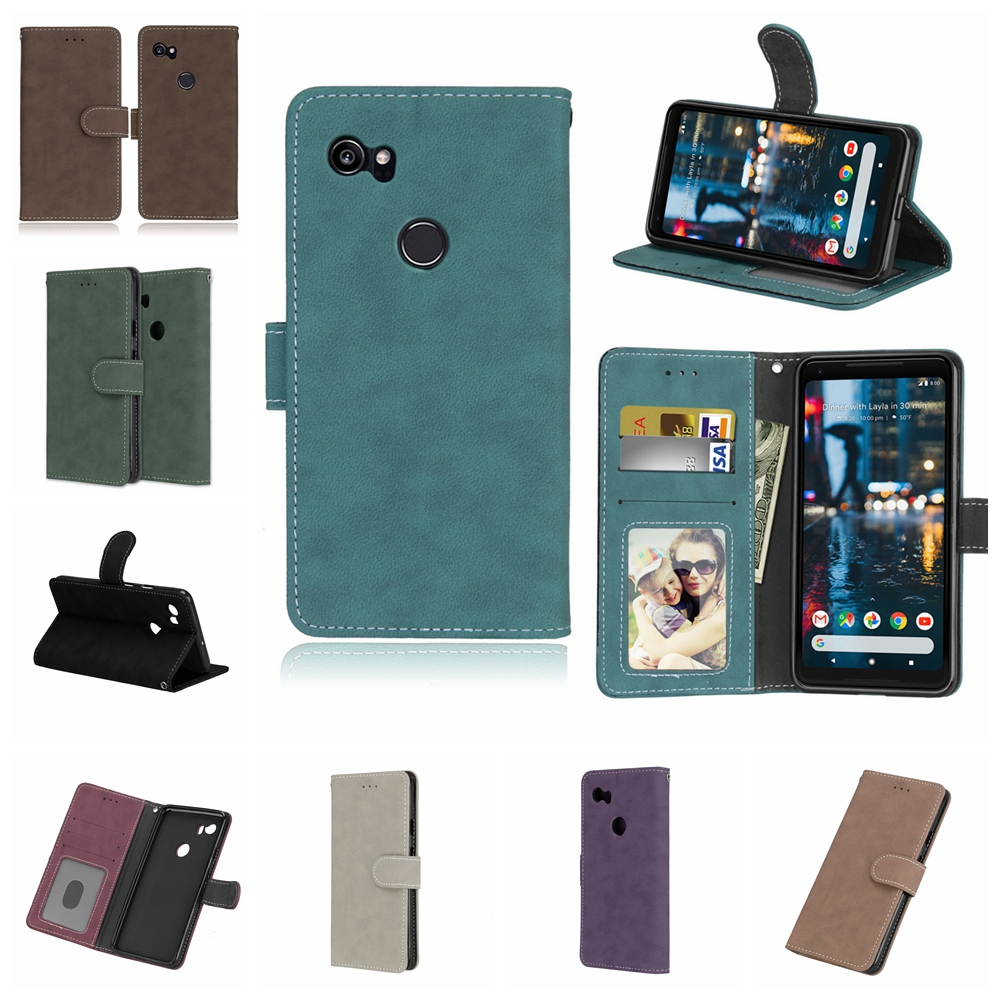 best loved e8b56 e32c0 Leather Flip Case For Google Pixel 2 XL Wallet Stand Cover With Card Holder  For Google Pixel 2Xl Case For Pixel 2 XL Phone Bags