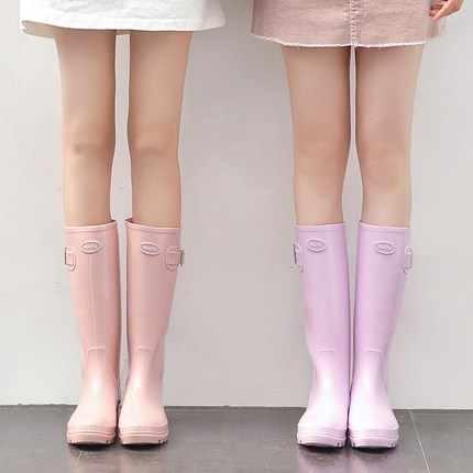 Thương Hiệu thời trang Mắt Cá Chân Giày Đi Mưa NHỰA PVC Jelly Áo Đi Mưa cho Nữ Đế Xuồng Nữ Giày Đi Mưa Màu Nguyên Chất Chống Thấm Nước Ủng Cao Su