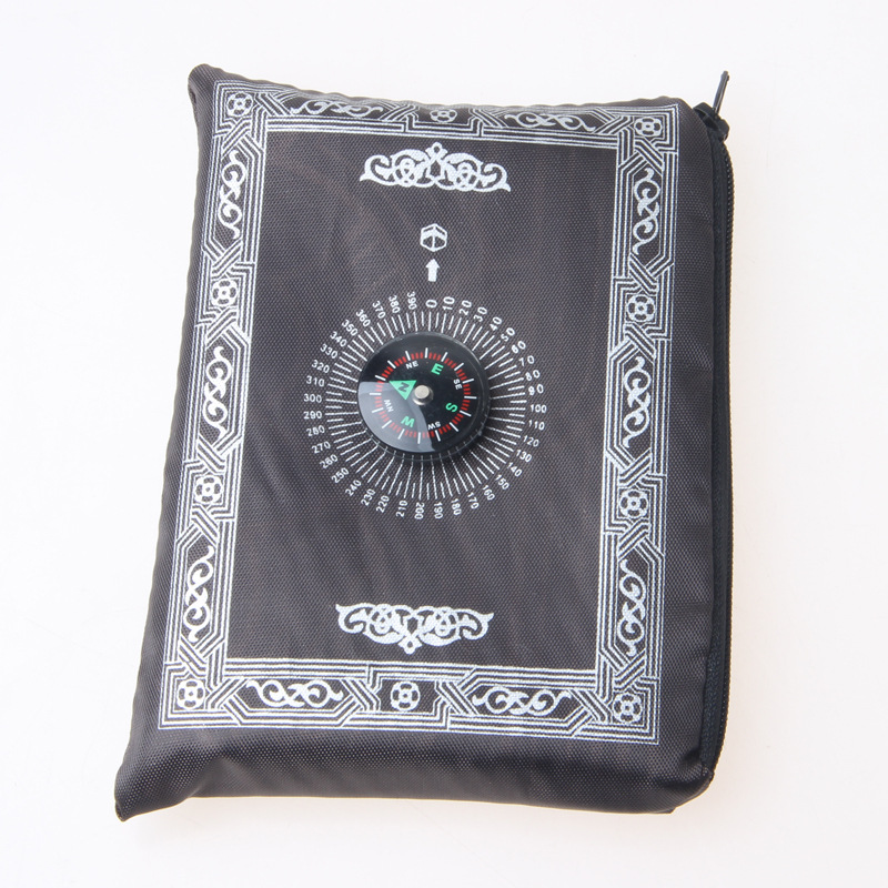Image 4 - Muslim Prayer Rug Polyester Portable Braided Mats Simply Print  with Compass In Pouch Travel Home New Style Mat Blanket 100*60cmRug