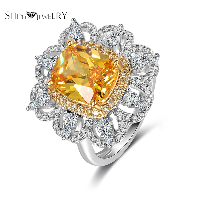 ShiPei Luxurious AAA Crystal Cubic Rings Women Jewelry Rings 7 Color Noble Gifts for Anniversary/Valentine's Day