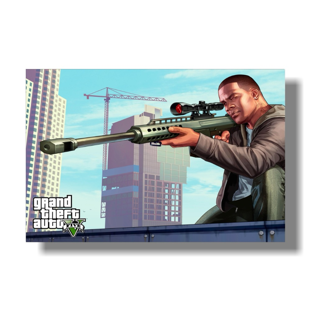 Grand Theft Auto V Art Silk Print Fabric Poster Game Hot GTA 5 - Տնային դեկոր - Լուսանկար 2