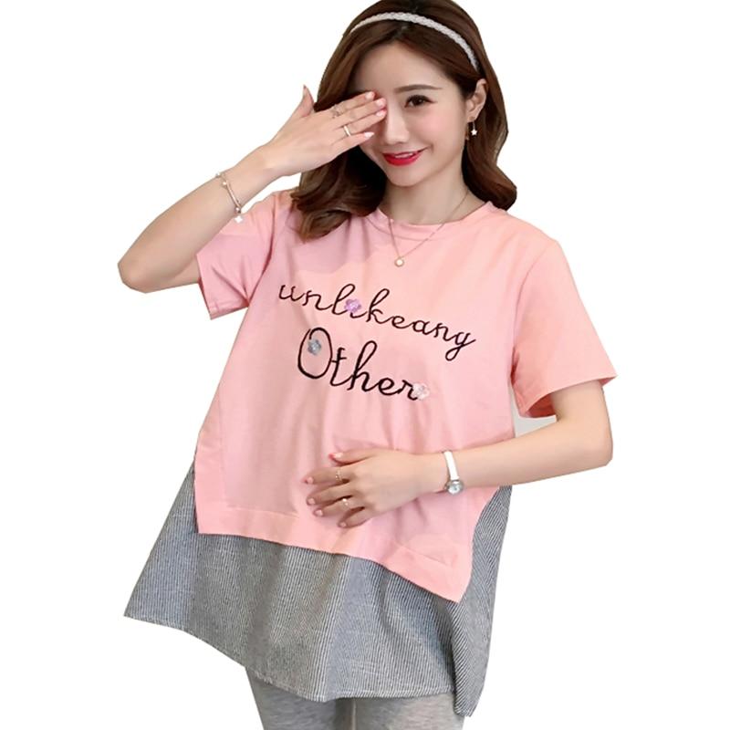 4ba5e2833f 2018 Új divat anyasági ruhák rövid ujjú pamut ágynemű terhesség ruha ...