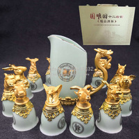 Zodiac Creative Chinese Wine Set Gift Box 12pcs of Porcelain Wine Glasses with Wine Separator 3 Color