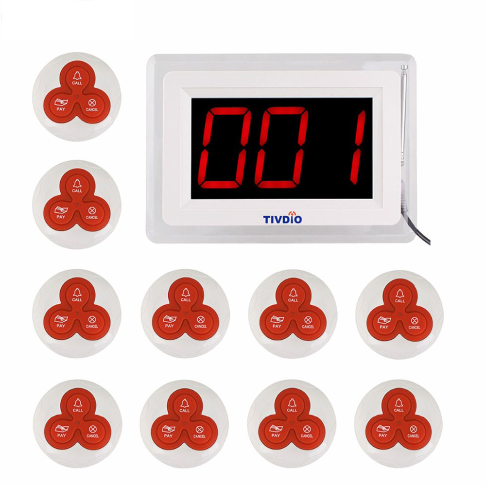 TIVDIO Sottobicchiere Ristorante Chiamata di Paging Del Sistema di Chiamata Senza Fili 1 Host Display + 10 Tavolo Campana Pulsante Cercapersone Ristorante Attrezzature F9405