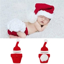 Baby Cap Crocheted Hat Boy Christmas Outfit New Born Photography Props Handmade Knitted Photo Prop Infant Accessories