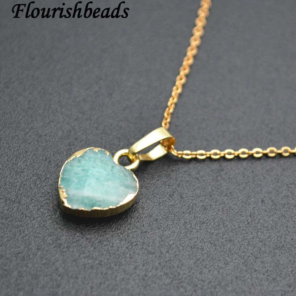 Natural Amazonite Faceted Stone Heart Pendant Linked Chains Necklace Fashion Jewelry