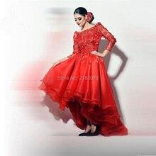 Vestidos High Low Abendkleid Dubai Couture 2016 Rot Organza Abendkleid Mit Applique Kurze Vordere Lange Zurück Formale Party kleid
