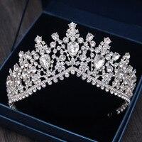 Luksusowy Barokowy Srebrny Kryształ Rhinestone Ślubny Diadem Korona Diadem dla Panny Młodej Opaski akcesoria do Włosów Ślubne Biżuteria Akcesoria Sukienka