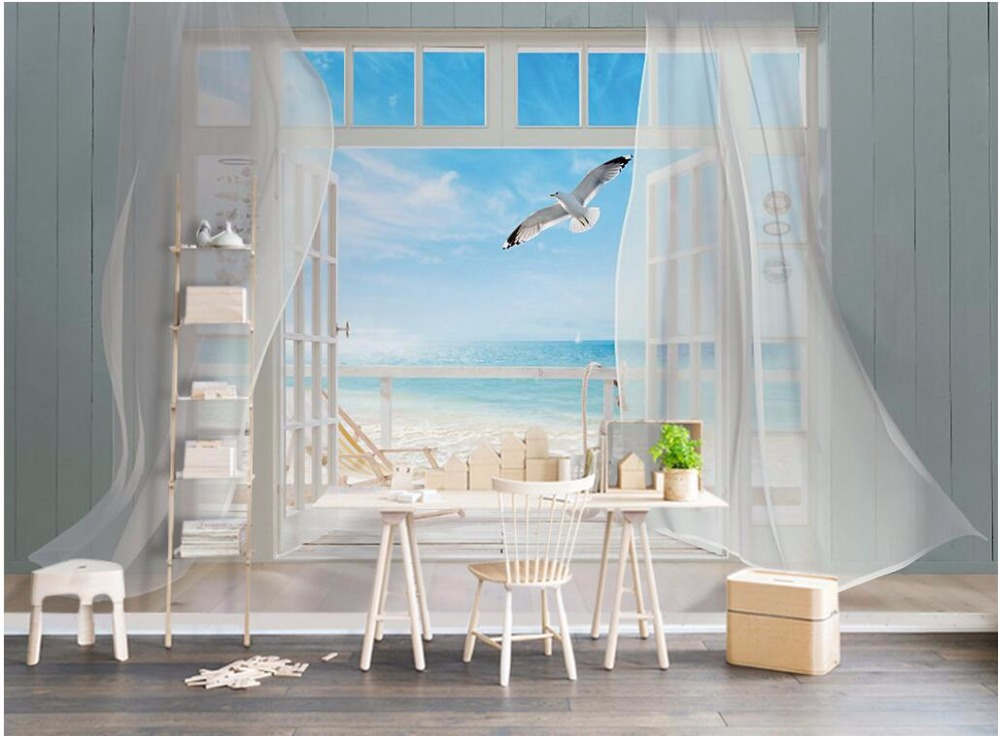 Custom photo mural 3d wallpaper Sea view outside the window decor painting 3d wall mural wallpaper for living room walls 3 d 3d wall murals wallpaper for living room walls 3 d photo wallpaper sun water falls home decor picture custom mural painting
