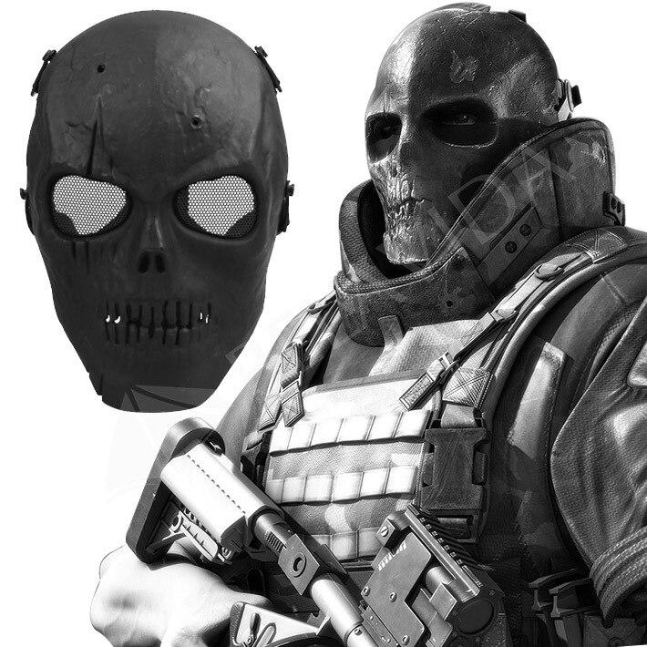 1Pc Skull Skeleton Airsoft Paintball BB Gun Full Face Protect Mask Shot Helmets Foam padded inside Black eye shield Full Cover
