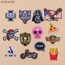 Prajna Lot Biker Skull Eagle Wolf Embroidered Patch Letter Cartoon Iron On Patches Clothes Bordad Sew Military Army Flag ACDC B1