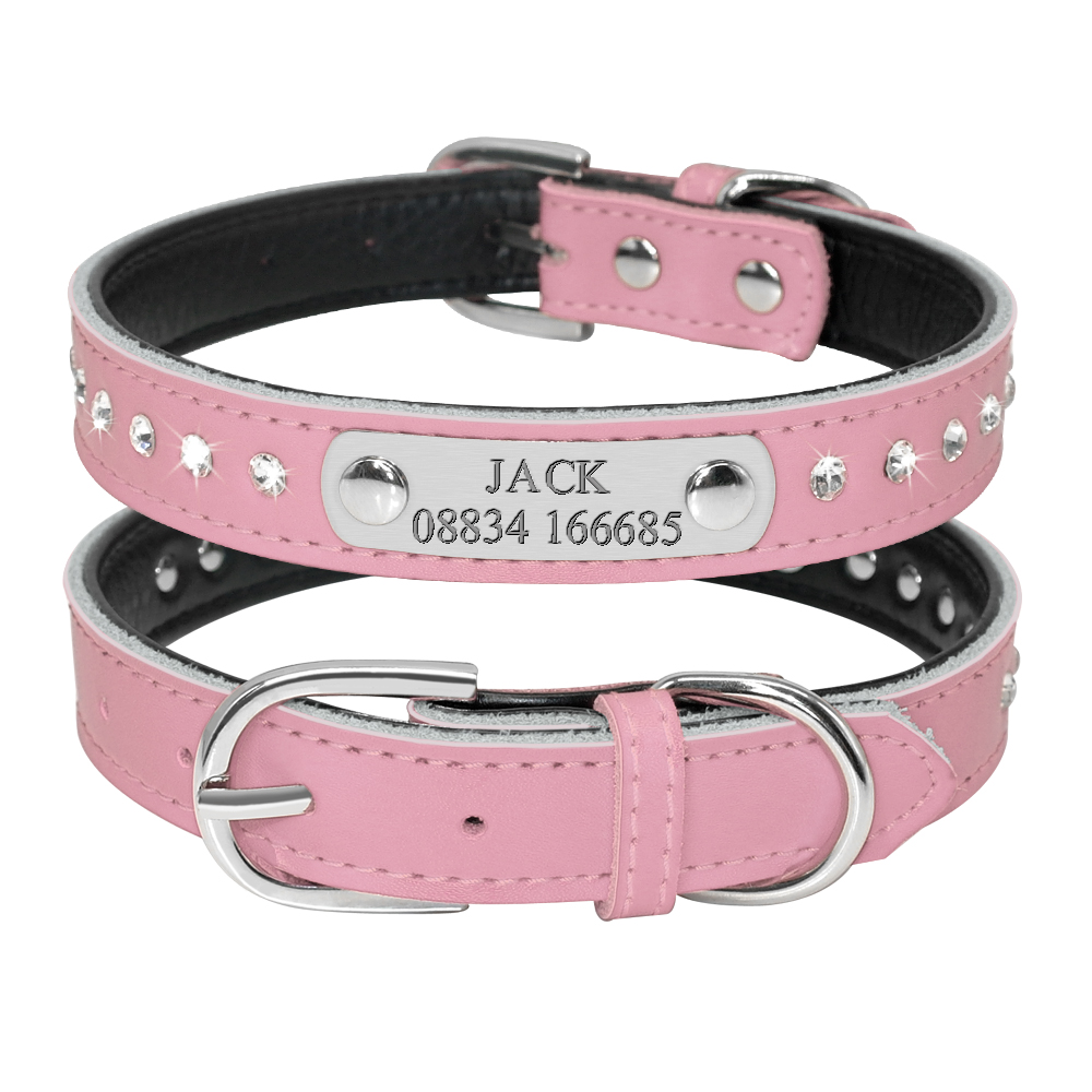 HTB1.ZKKE25TBuNjSspmq6yDRVXaE - Halsband met naam en telefoonnummer hond of kat leer steentjes