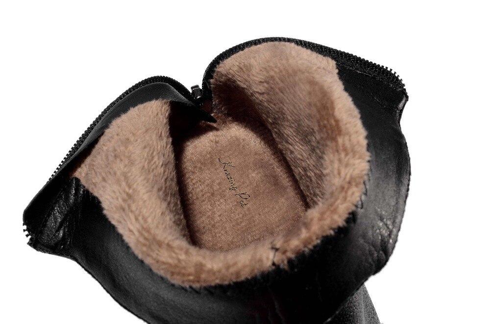 Krazing pentola in vera pelle punta rotonda criniera di capelli della decorazione della sfera di donne gladiatore tacchi alti incontri ufficio della signora caviglia stivali L01-in Stivaletti da Scarpe su  Gruppo 3