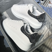 RUIYEE sapatos femininos sneakers women rhinestones cowhide shoes 2019 new sheepskin lining leather casual shoes sports men shoe