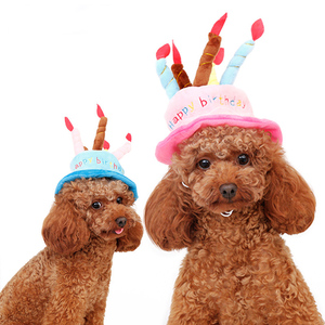 Dog Cats Birthday Hat Pets Fleece Party Cake Cap Grooming Free Size