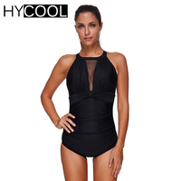 HYCOOL 2017 Women Swimwear One Piece Swimsuit Monokini Sport Solid Sexy Mesh High Neck Bathing Suit