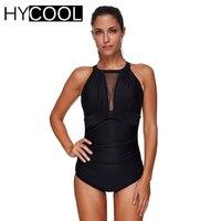 HYCOOL 2017 Women Swimwear One Piece Swimsuit Monokini Sport Solid Sexy Mesh High Neck Bathing Suit