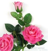 Настоящее сенсорный 3 головки Высокая моделирования декоративные латекс Искусственный Роза с длинным филиал/вынос руля ощупь/чувствовал Роза Бесплатная доставка