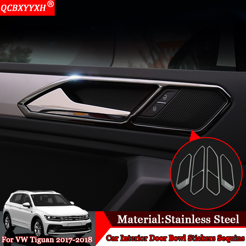 QCBXYYXH Car Styling 4pcs Stainless Steel Inner Door Glove Box Swich Sequins Auto Decoration Accessories For