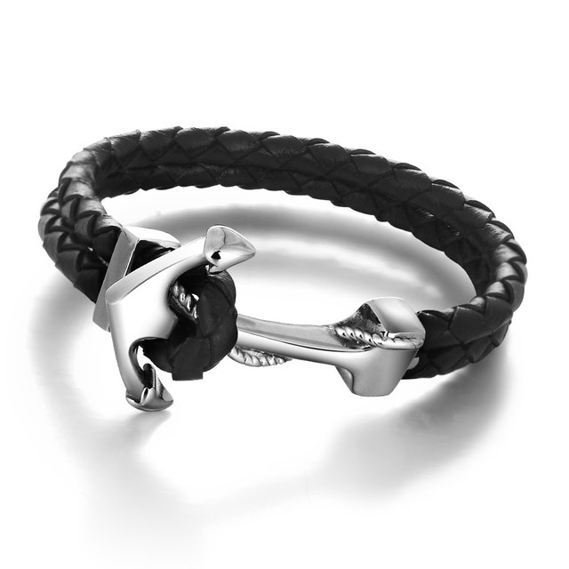 Braided Leather and Silver Anchor Design Bracelet