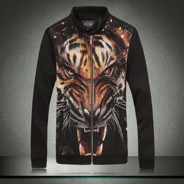 2016 otoño invierno hombres parka Chaqueta Impresa nueva gama alta de moda marea chaqueta de cuello alto de algodón negro exterior chaquetas